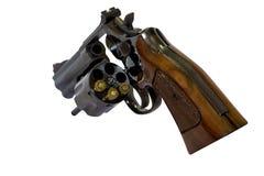 Fine della canna del cilindro caricata pistola del revolver di 38 calibri su w Fotografie Stock Libere da Diritti