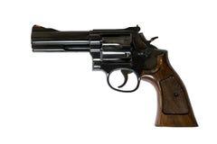 Fine della canna del cilindro caricata pistola del revolver di 38 calibri su w Immagini Stock Libere da Diritti