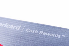 Fine della carta di credito delle ricompense dei contanti della banca di America su su fondo bianco Fotografia Stock Libera da Diritti