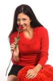 Fine della donna della Rosa in su Fotografia Stock Libera da Diritti