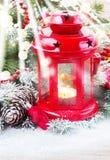 Fine della lanterna di Natale su Fotografia Stock