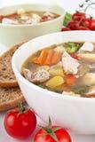 Fine della minestra di verdura e del pollo su Fotografia Stock