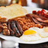 Fine della prima colazione inglese in su Fotografie Stock