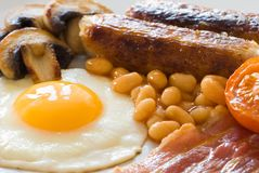 Fine della prima colazione inglese in su Fotografia Stock