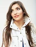 Fine della ragazza dell'adolescente sul ritratto di bellezza isolato su backgr bianco Fotografia Stock Libera da Diritti