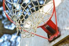 Fine della rete di pallacanestro in su Fotografia Stock Libera da Diritti