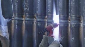 Fine della saldatura dell'arco al tungsteno del gas su stock footage