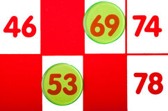 Fine della scheda di Bingo in su Fotografie Stock