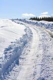 Fine della strada di Snowy in su Fotografia Stock