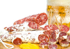 Fine dello spuntino della carne e della birra in su Fotografia Stock