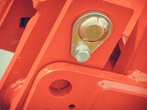 Fine dettagliata astratta su di macchinario rosso Fotografia Stock
