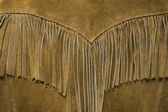 Fine di cuoio occidentale d'annata del cappotto della frangia su immagini stock libere da diritti