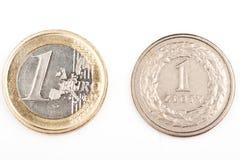 Fine di Eurocent su Euro violento a metà contro vecchia priorità bassa fotografia stock libera da diritti