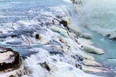 Fine di Gullfoss sulla cascata Immagini Stock Libere da Diritti