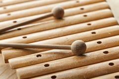 Fine di legno dello xilofono su Fotografie Stock Libere da Diritti
