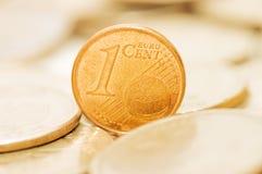 Fine di macro delle monete in su Fotografie Stock