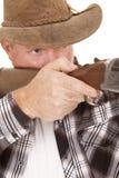 Fine di scopo della pistola delle screpolature del cowboy Immagine Stock Libera da Diritti