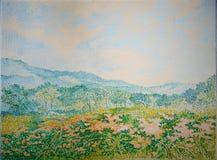 Fine di struttura della pittura a olio del campo del giardino floreale di Mountain View su immagini stock