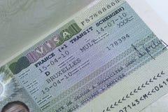 Fine di visto di Schengen del francese su Immagine Stock