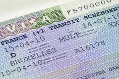Fine di visto di Schengen del francese su Fotografia Stock