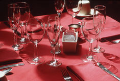 Fine dining. Table set for fine dining Stock Photo