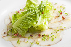 Fine dining appetizer dish with lettuce n fish Stock Photography