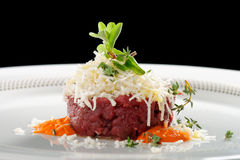 Fine dining, beef fillet tartare Royalty Free Stock Photography