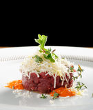 Fine dining, beef fillet tartare Royalty Free Stock Photo