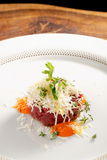Fine dining, beef fillet tartare Royalty Free Stock Image