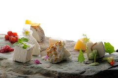 Fine dining cheese plate Royalty Free Stock Photography