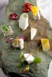 Fine dining cheese plate Stock Photos
