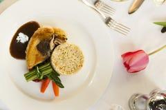 Fine dining chicken dinner. Royalty Free Stock Image