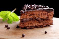 Fine dining, close up of a chocolate cream cake Stock Image