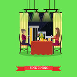 Fine dining concept vector illustration in flat style. Vector illustration of two young woman having dinner at restaurant. Fine dining concept design element in Royalty Free Stock Photography