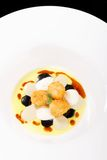 Fine dining, deep fried scallops with olive oil, cheese Royalty Free Stock Image