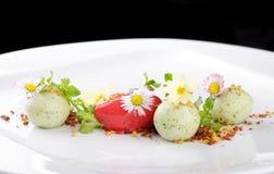 Fine dining dessert, Strawberry/Kiwi ice cream Royalty Free Stock Image