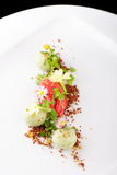 Fine dining dessert, Strawberry/Kiwi ice cream Stock Photo