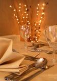 Fine dining dinner setting stock images