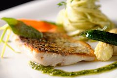 Fine dining, fish fillet Royalty Free Stock Photography