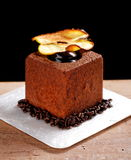 Fine dining, French dark chocolate gourmet mignon. Cakes stock photography