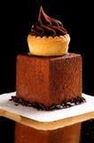 Fine dining, French dark chocolate gourmet mignon. Cakes stock image