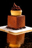 Fine dining, French dark chocolate gourmet mignon. Cakes stock image