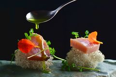 Fine dining, fresh raw ahi tuna sashimi served on an ocean sponge Stock Image