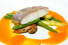 Fine dining, John Dory fish fillet Stock Photo