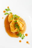 Fine dining, Lamb ragu ravioli Royalty Free Stock Images