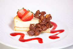 Fine dining meal, delicious cheesecake Stock Images