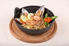 Fine dining meal, shrimps, mussels, squids 2 Stock Images