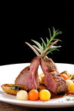 Fine dining, roasted Lamb chops with potato Royalty Free Stock Image
