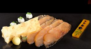 Fine dining, smoked salmon with mango jelly Royalty Free Stock Photos