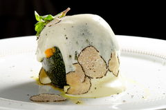 Fine dining, stuffed green pumkin with goat cheese Stock Images